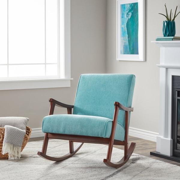 Carson Carrington Namsos Mid Century Aqua Blue Fabric Wooden Rocker Chair Free Shipping Today