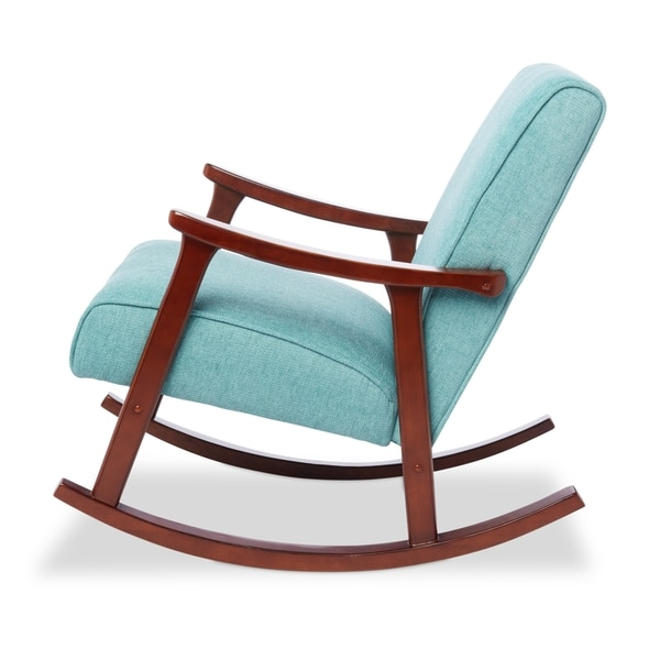 Aqua Blue Fabric Mid Century Wooden Rocker Chair Free Shipping