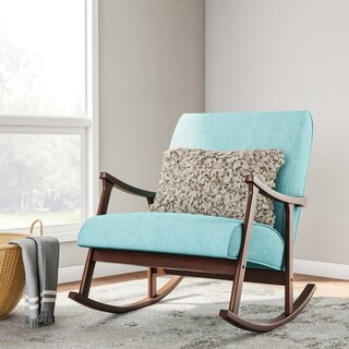 Aqua Blue Fabric Mid Century Wooden Rocker Chair