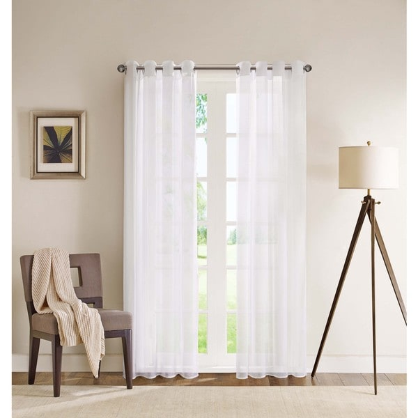 Madison Park Clarion White Lightweight Sheer Flame Retardant Curtain Panel With Weighed Bottom Grommet Top