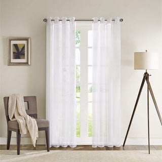 Madison Park Clarion White Lightweight Sheer Flame Retardant Curtain Panel with Weighed Bottom/ Grommet Top Detailing