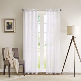 Madison Park Clarion White Lightweight Sheer Flame Retardant Curtain Panel with Weighed Bottom/ Grommet Top Detailing|https://ak1.ostkcdn.com/images/products/9371427/P16562549.jpg?_ostk_perf_=percv&impolicy=medium