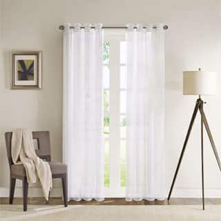 Madison Park Clarion White Lightweight Sheer Flame Retardant Curtain Panel with Weighed Bottom/ Grommet Top Detailing|https://ak1.ostkcdn.com/images/products/9371427/P16562549.jpg?impolicy=medium