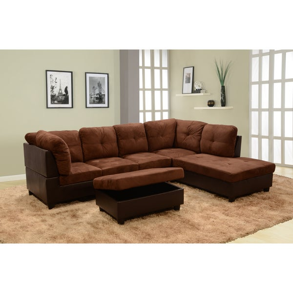 Shop Delima 3 Piece Dark Brown Microsuede Sectional With