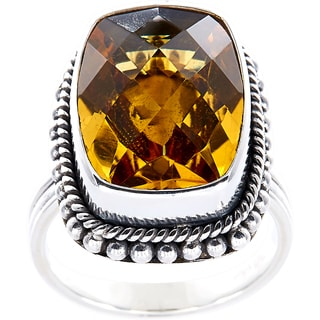 Handmade Sterling Silver Bead Edge Faceted Citrine Bali Ring (Indonesia)