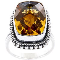 Handmade Sterling Silver Bead and Rope Edge Faceted Citrine Bali Ring (Indonesia)