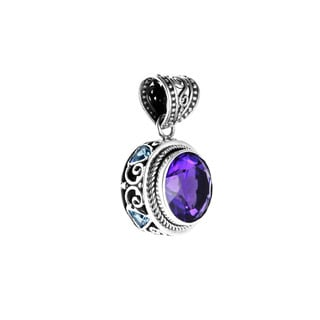 Sterling Silver Bali Round Amethyst with Blue Topaz Trillion Stones Pendant (Indonesia)