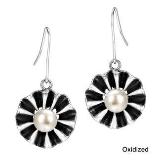 Handmade Ruffled Petals Pearl Center Flower .925 Silver Earrings (Thailand)