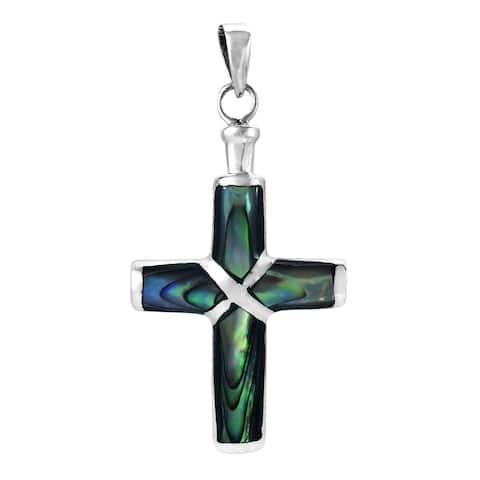 Handmade Christian Cross Stone Inlay .925 Silver Pendant (Thailand)