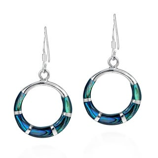 Handmade Chic Open Circle Stone Inlay .925 Silver Dangle Earrings (Thailand)