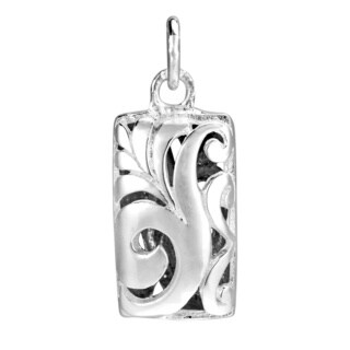 3D Filigree Swirls Square .925 Silver Pendant or Charm (Thailand)