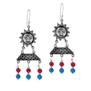 Handmade Sun Goddess Stone Tribal .925 Silver Dangle Earrings (Thailand)