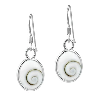 Handmade Versatile Oval Shiva Shell .925 Silver Dangle Earrings (Thailand)