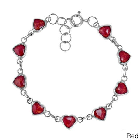Handmade Love All Around Heart Link Stone Inlay .925 Sterling Silver Bracelet (Thailand)