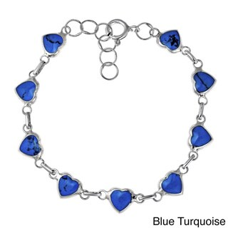 Love All Around Heart Link Stone Inlay .925 Silver Bracelet (Thailand)