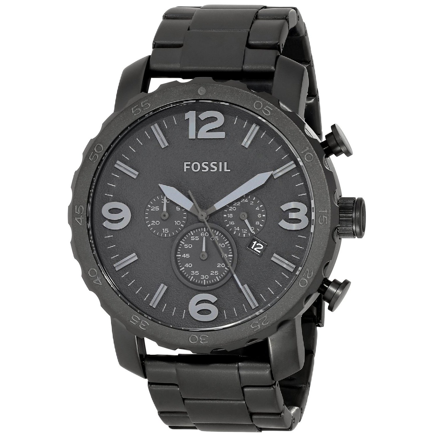 Fossil Men's JR1401 Nate Black Stainless Steel Watch (Fos...