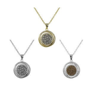 Luxiro Sterling Silver Druzy Quartz and White Cubic Zirconia Circle Necklace Pendant