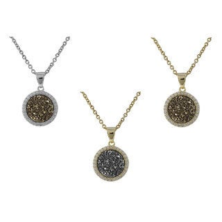 Luxiro Sterling Silver Druzy Quartz Circle Pendant Necklace