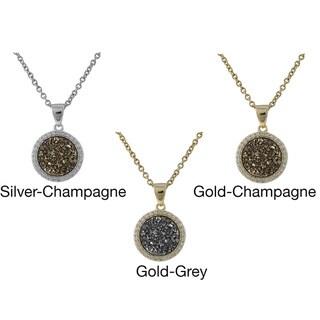 Luxiro Sterling Silver Druzy Quartz Circle Pendant Necklace