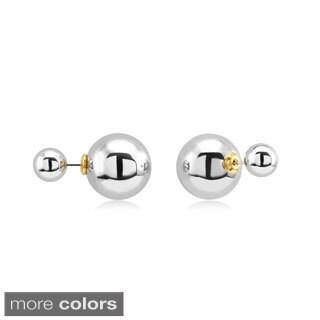 Brass Double Ball Front-Back Stud Earrings