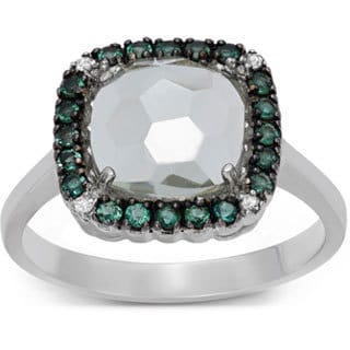 Gioelli Sterling Silver Black Rhodium Green Amethyst Quartz White Topaz Ring
