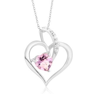 Sterling Silverplated Cubic Zirconia and Genuine Amethyst Heart-shaped Pendant Necklace
