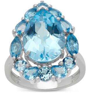 Gioelli Sterling Silver Stylish Blue Topaz Designer Ring