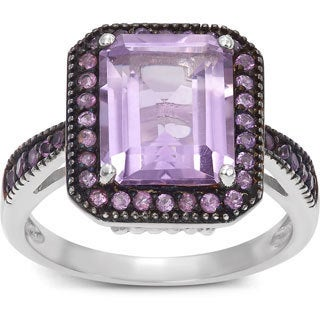 Gioelli Sterling Silver Black Rhodium Emerald-cut Amethyst Ring