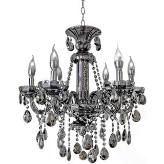 6-light Mirrored Silver Crystal Candelabra Chandelier