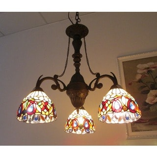 stained glass chandelier large chloe tiffany style 3light dark bronze chandelier buy chandeliers lighting online at overstockcom our