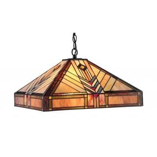 Tiffany Style Mission Dark Bronze 2-light Pendant