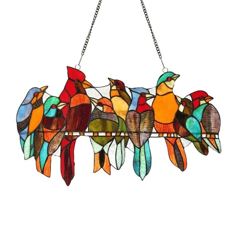 Chloe Tiffany-style Stained Glass Bird Window Panel