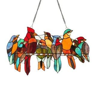 Chloe Tiffany-style Stained Glass Bird Window Panel