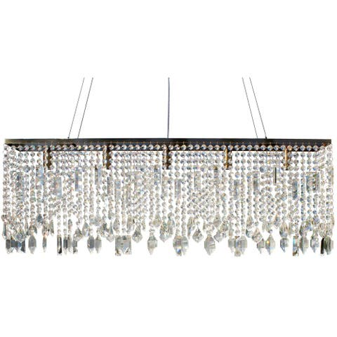 Sofia 40 Inch Crystal Chandelier, Antique Brass Finish