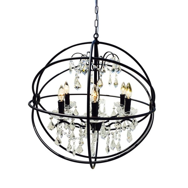 black wrought iron orb chandelier free shipping today overstock