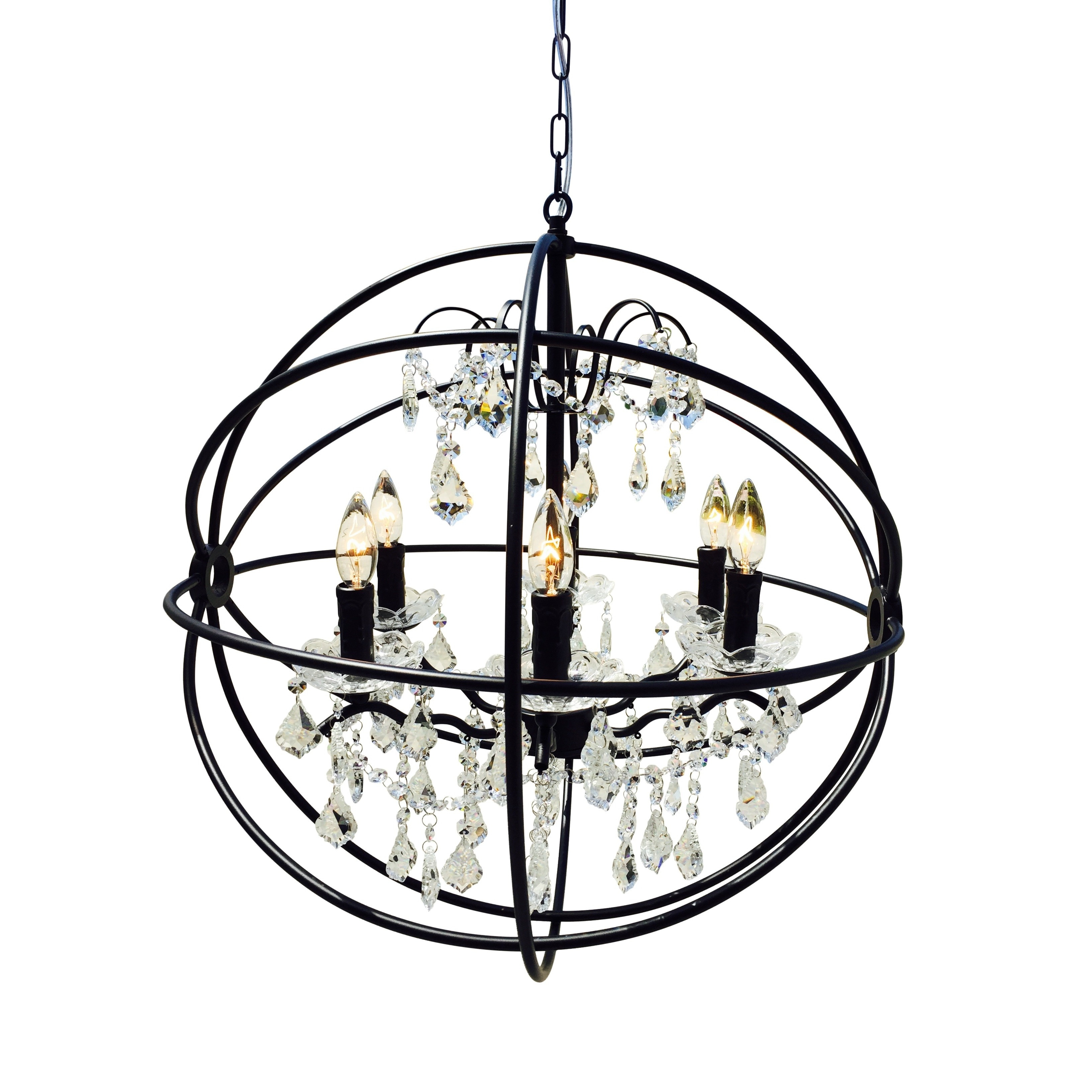 Black Wrought Iron Orb Chandelier (Wrought Iron Orb Chand...