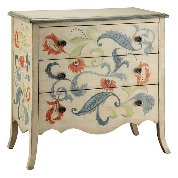 Caprice 3-drawer Floral Accent Chest
