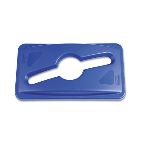 Rubbermaid Commercial Blue Single Stream Recycling Top for Slim Jim Containers