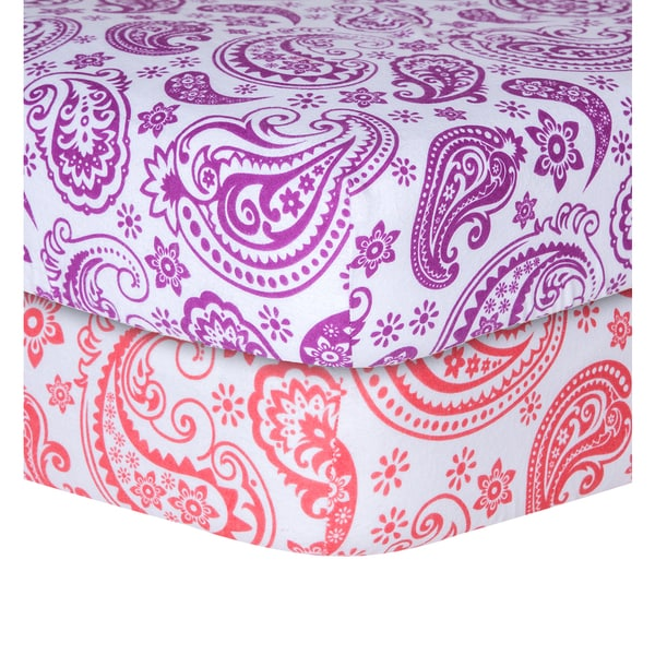Shop Trend Lab Orchid Paisley Flannel Crib Sheet Free