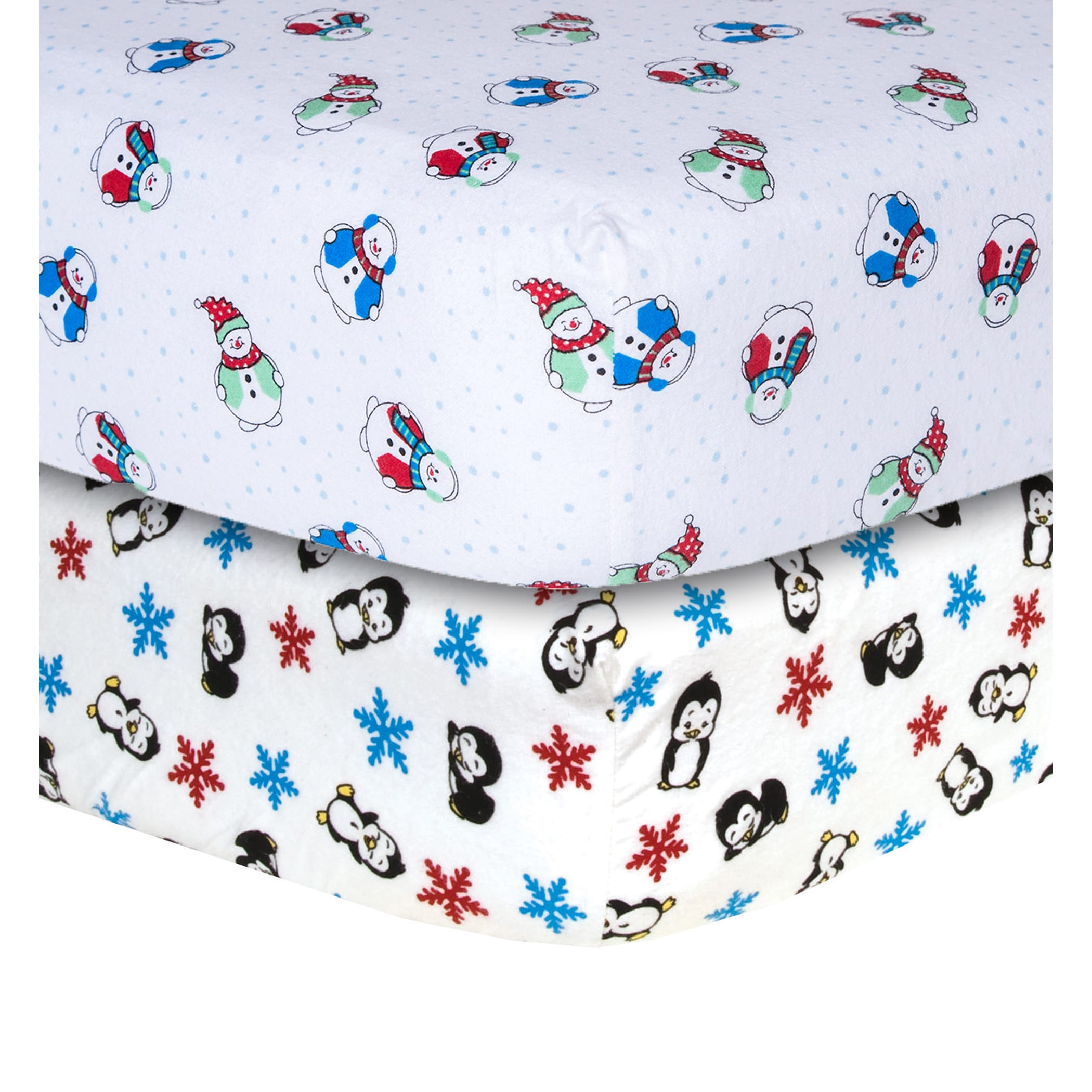 Trend Lab Snowman and Penguin Print Flannel Crib Sheets (...