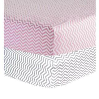 Trend Lab Girls' Chevron Print Flannel Crib Sheet (Set of 2)