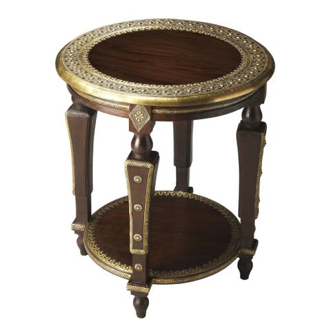 Handmade Regal Indian Round Mango Wood End Table (India)