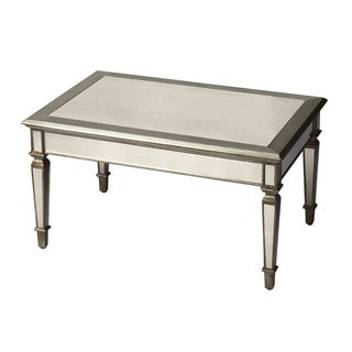 Hand-crafted Antique Finish Mirrored Cocktail Table