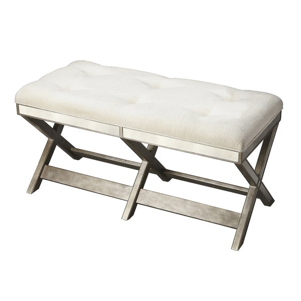 Handmade Decorative Button-tufted Mirrored Bench (China)