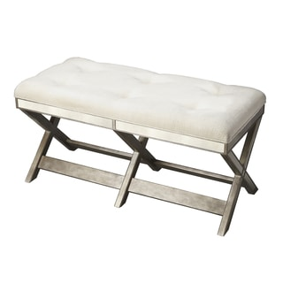 Hand-crafted Decorative Button-tufted Mirrored Bench