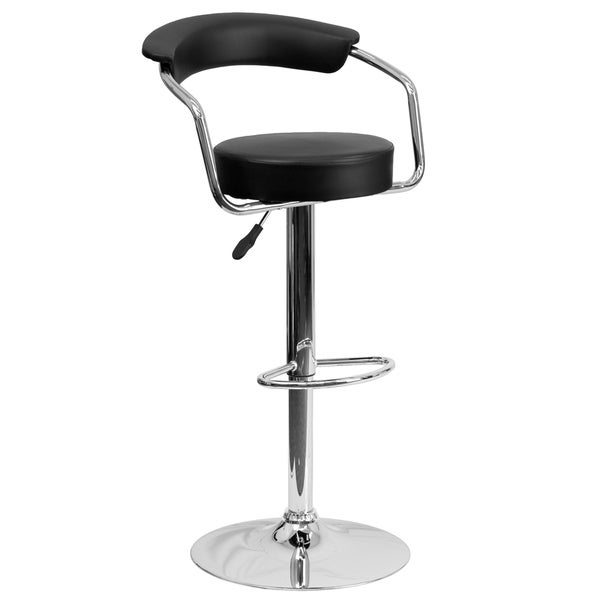 Contemporary Black Adjustable Height Bar Stool With Arms