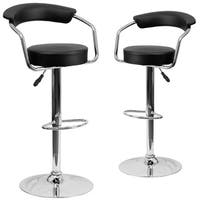 Contemporary Black Adjustable Height Bar Stool with Arms (Set of 2)