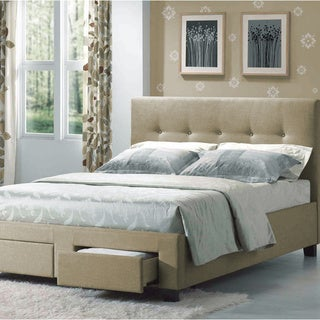 Emerald Home Sydney Beige Twin Upholstered Bed with Tufted Headboard And Hidden Storage