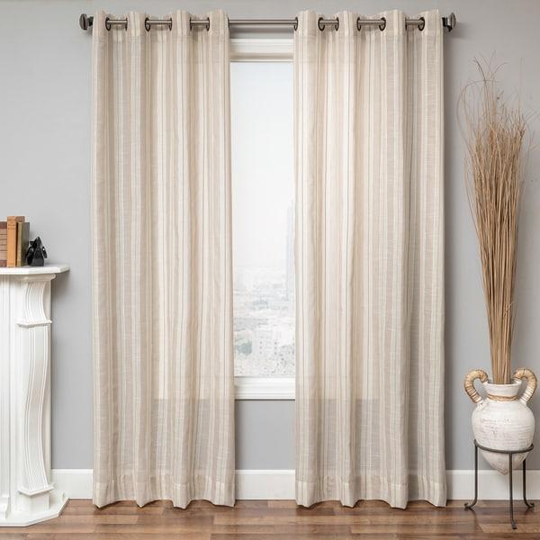 Aurora Home Awning Stripe Cotton Linen Blend Grommet Top Curtain Panel ...