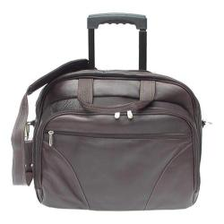 Piel Leather Chocolate Rolling Carry Laptop Case